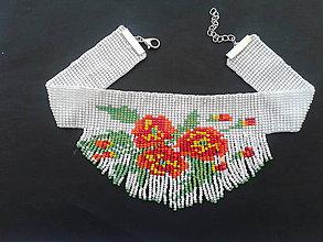 Náhrdelníky - chocker červené kvety - 8325307_