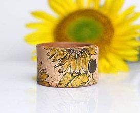 Náramky - Slnečnicové leto - ručne maľovaný kožený náramok - 8325010_