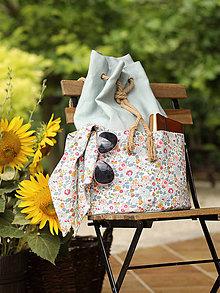 Batohy - Veľký ľanovo/bavlnený tyrkysovošedý batoh pre štýlovú cestovateľku - 8325805_