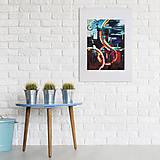Grafika - Print A3 na papieri A2 (v ráme) z originál obrazu City Lights - 8326520_