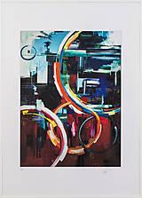 Grafika - Print A3 na papieri A2 z originál obrazu City lights - 8326529_