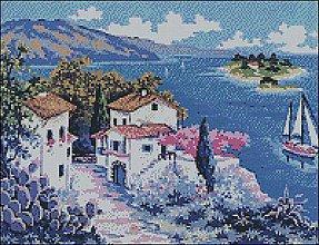 Návody a literatúra - K022 Grécke pobrežie - Predloha na vyšívanie - 8326679_