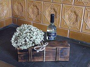 Krabičky - Rustikální dárková krabice na víno - přírodní - 8326118_