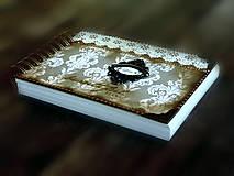 Papiernictvo - Vintage svadobná kniha a svadobný fotoalbum v jednom/rodinný album/kronika LOVE-Čipka - 8324243_