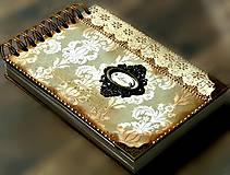 Papiernictvo - Vintage svadobná kniha a svadobný fotoalbum v jednom/rodinný album/kronika LOVE-Čipka - 8324244_
