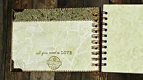 Papiernictvo - Vintage svadobná kniha a svadobný fotoalbum v jednom/rodinný album/kronika LOVE-Čipka - 8324246_