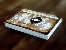 Papiernictvo - Vintage svadobná kniha a svadobný fotoalbum v jednom/rodinný album/kronika LOVE-Čipka - 8324272_