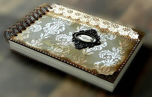Vintage svadobná kniha a svadobný fotoalbum v jednom/rodinný album/kronika LOVE-Čipka