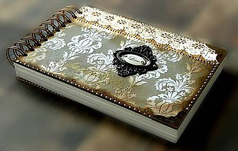 Papiernictvo - Vintage svadobná kniha a svadobný fotoalbum v jednom/rodinný album/kronika LOVE-Čipka - 8324249_