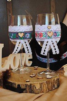 Nádoby - Svadobné poháre,ľudový motív - 8328020_