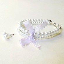 Sady šperkov - Wedding Light Violet Pearl Set / Set náramku a náušníc s voskovanými perlami /0560 - 8327884_