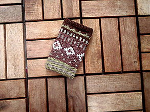 Na mobil - Pletený obal na mobil hnedý - 8328757_