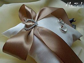 Prstene - Svadobný vankúšik na obrúčky/hnedý/ - 8328991_