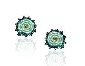 Náušnice - Napichovacie náušnice (Mentolovo-smaragdové) - 8329004_