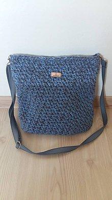 Kabelky - Háčkovaná kabelka modro-šedá - 8328999_
