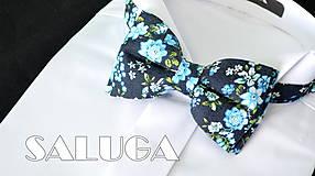 Doplnky - Pánsky kvetinový motýlik - modrý - 8328283_