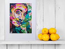 Grafika - Print A3 na papieri A2 (v ráme) z originál obrazu  Abstraktný portrét VII. - 8327767_