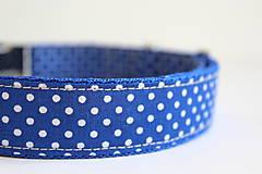 Pre zvieratká - Obojok Viktor - v kráľovskej modrej s bodkami - 8332169_