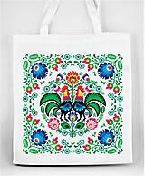 Nákupné tašky - Nákupná taška farebné folk kvety kohúty - 8332115_