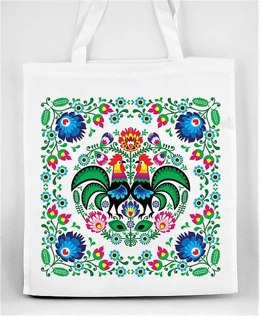 Nákupná taška farebné folk kvety kohúty