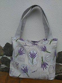 Veľké tašky - Taška ľanová so srdiečkami a levanduľa - 8332087_