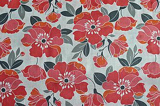 Textil - Bavlna Vlčie maky - 8329933_