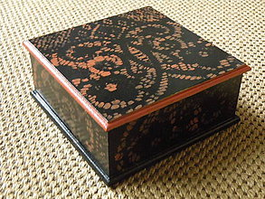 Krabičky - Originální romantická krabička černá + terakota krajka - 8329752_