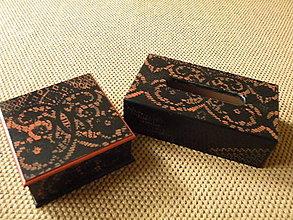 Krabičky - Originální romantická krabička na kapesníky černá+teracota - 8329783_