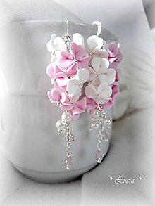 Náušnice - Srdiečkové kvetinky ružovo-biele - 8329916_