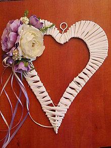 Dekorácie - Fialovo - ivory srdce - 8331245_
