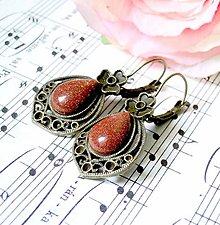 Náušnice - Vintage Teardrop with Ornaments Earrings / Bronzové náušnice v tvare slzy /0559 (Sandstone / Slnečný kameň synt.) - 8334971_