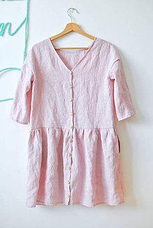 Šaty - Ľanové šaty pre mamu ružové - 8333784_
