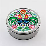 Krabičky - Plechová krabička okrúhla folk kvety kohúty - 8332802_