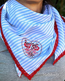 Šatky - Vyšívaná šatka - modrý prúžok s červeným - 8333729_