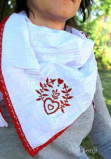 Šatky - Vyšívaná šatka biela s červeným - 8333739_