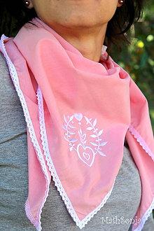 Šatky - Vyšívaná šatka ružová s bielym - 8333757_