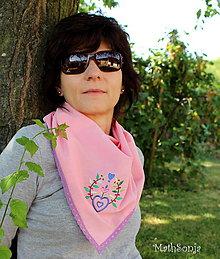 Šatky - Vyšívaná šatka ružová s pestrým - 8335541_