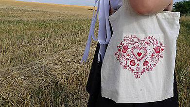 Nákupné tašky - Folklórna eko taška srdce - 8334848_