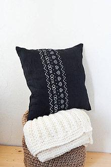 Úžitkový textil - Cushion • 100% Ľan • Čierna • Čičmany - 8334316_