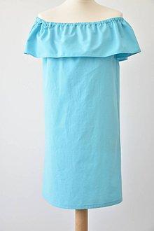 Šaty - Tyrkysové šaty offshoulder - 8333764_