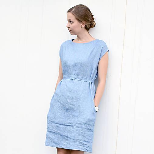 Šaty - Basic ľanové šaty s opaskom - 8335540_