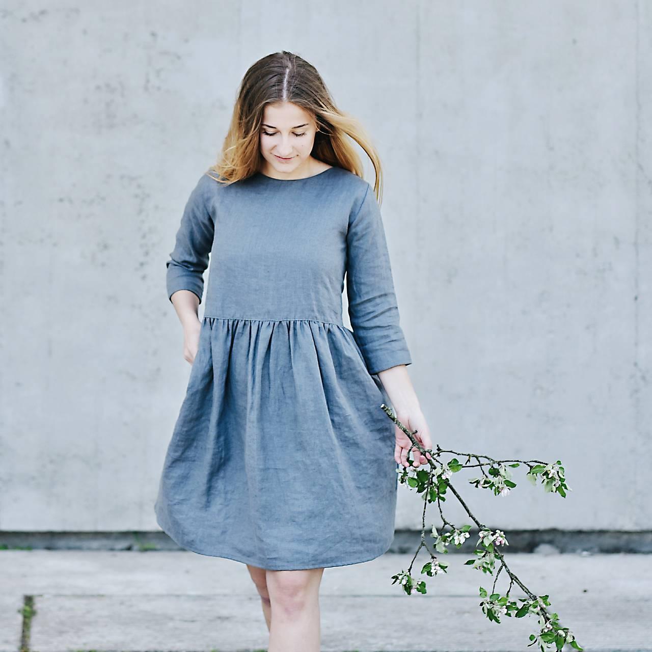 Dámske ľanové šaty 3/4 rukáv