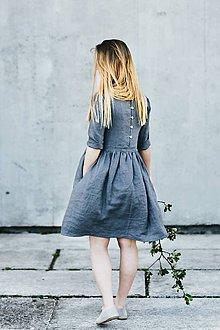 Šaty - Dámske ľanové šaty 3/4 rukáv - 8335585_