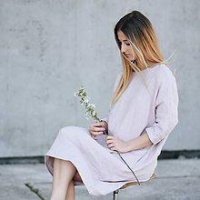 Šaty - Dámske oversized ľanové šaty 3/4 rukáv - 8335599_
