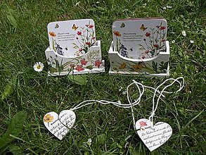 Pomôcky - Sada 4 korkových podložek v krabičce se srdíčkem květinková - 8332926_