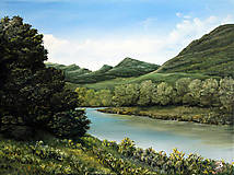 Obrazy - Leto pri rieke - Originál olejomaľba - 8334857_