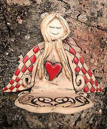 Svietidlá a sviečky - Keramický anjelik na sviečku I. - 8333228_