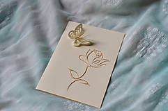 Papiernictvo - Pohľadnica - ruža s motýľom - 8333324_