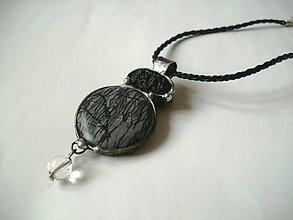 Náhrdelníky - Tiene pred úsvitom- láva, jaspis písmekový, kryštál - 8338356_