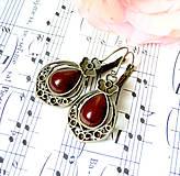 Náušnice - Vintage Teardrop with Ornaments Earrings / Bronzové náušnice v tvare slzy /0559 (Red Agate / Červený achát) - 8337260_